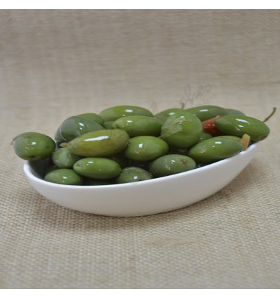 Green olive low in salt