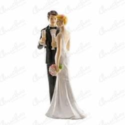 Figure couple wedding champagne glass