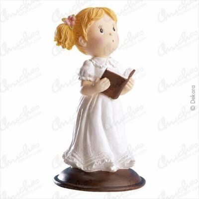 Figura niña comunión biblia en mano