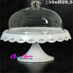 White metal plate with glass lid