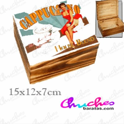 Caja madera 15x 12 x 7 cm