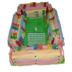 Soccer field cake 4 tiers