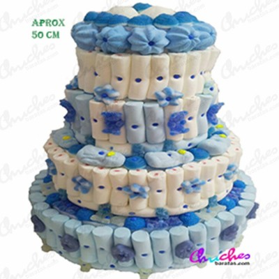 Mega tarta 4 pisos tonos azules y blancos
