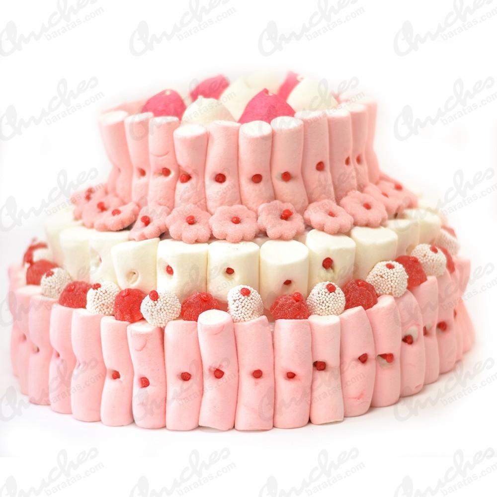 Tarta 3 pisos tonos rojos rosas y blancos chuches baratas - Tartas de chuches fotos ...
