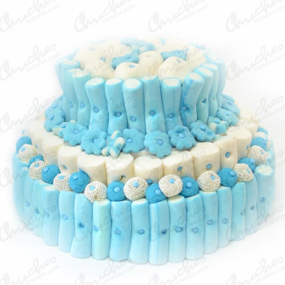 Tarta 3 pisos tonos azules y blancos chuches baratas - Chuches para bautizo ...
