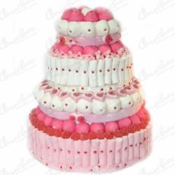 Mega tarta 4 pisos tonos rosas y blanco