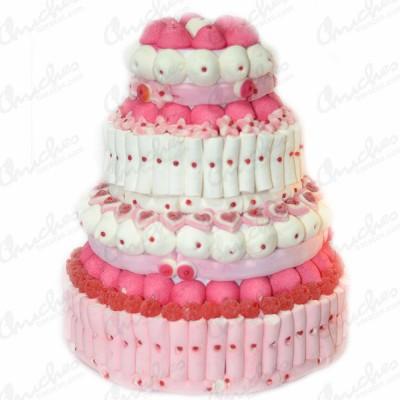 Mega tarta 4 pisos tonos rosas y blancoa