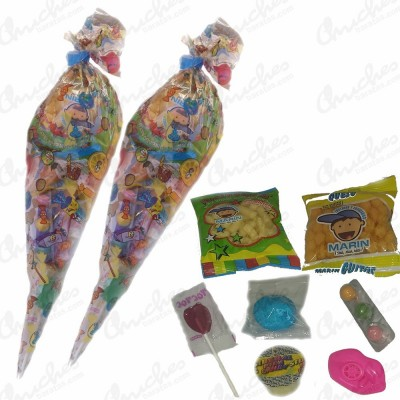 Bolsa cono sweet party rellena de chuches 40 cm x 20 cm