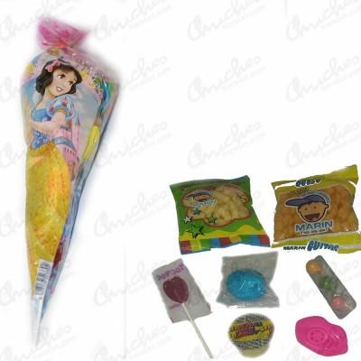 Bolsa cono princesas disney rellena de chuches 20 unidades