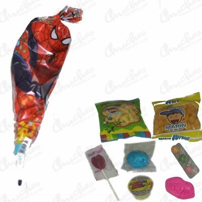 Bolsa cono spiderman rellena chuches 20 unidades